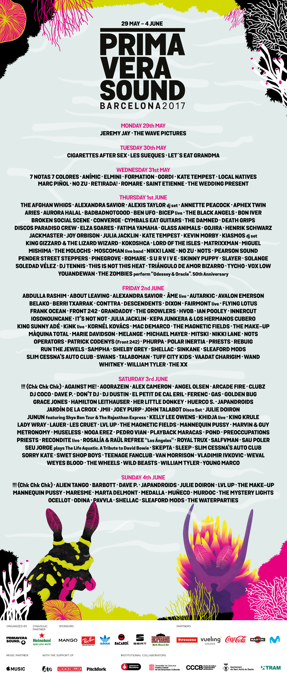 primavera sound line up Barcelona 2017